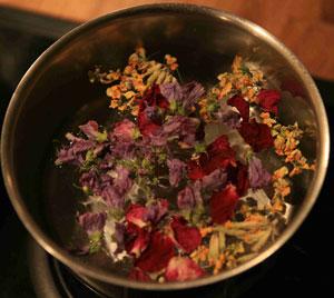 fleur séchée dans l'eau pour l'infusion de la tisane